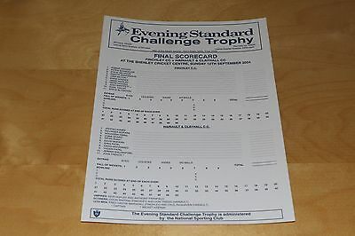 Cricket Scorecard - Finchley vs Hainault - Evening Standard Trophy 12 Sep 2004