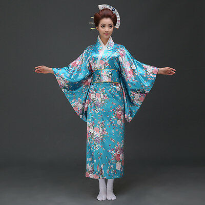 Blue Vintage Yukata Japanese Kimono Costume Dress Obi Cosplay Robe Geisha Retro