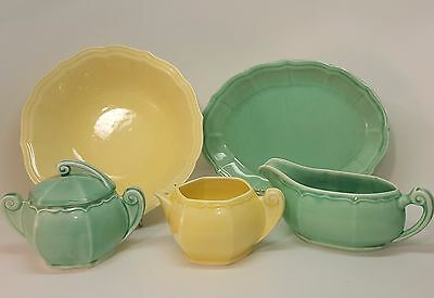 Vintage W.S. George 5 piece Lot Yellow Green Serving Pieces