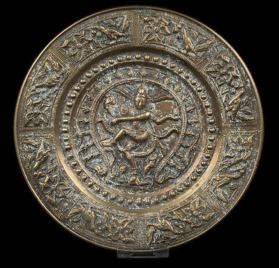 Südindien 20. Jh. Messing Teller - A South Indian Brass Dish Shiva Nataraja Inde