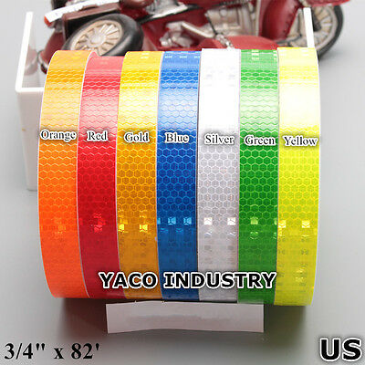 "Reflective tape sticker 3/4""x82' Car Motor decal Backpack Warning Tape Strip US"