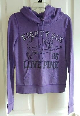 victoria secret PINK hoodie sweatshirt size small PURPLE panther lion