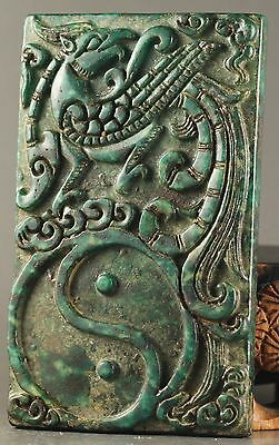 Chinese old natural jade hand-carved phenix inkstone NO.Y886
