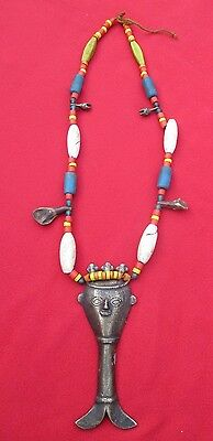 Naga Headhunter Necklace With Bronze Spirit Amulet & Unique Bead Adornments