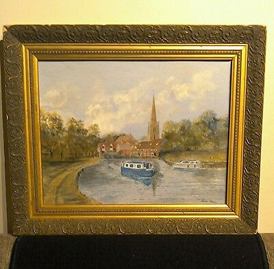 Joan Nunn Oil painting. Abingdon on Thames. Oxfordshire. Artist signed.