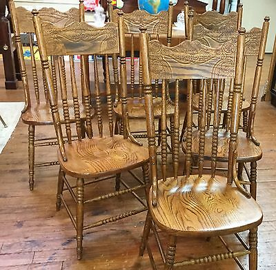 Set Of Six Oak Pressed Back Chairs With Solid Wood Seats