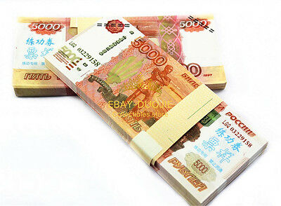 100Pcs SUR $5000 Russian Fake Money paper Play Money Practice Bills Gift