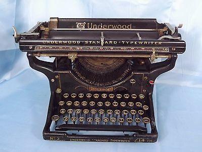 "Underwood Standard No.3 Typewriter with 14"" Carriage - Nice Condition"