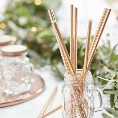 HEN PARTY Rose Gold BRIDE TO BE Luxury STRAWS 25 Pack Wedding Anniversary Bride