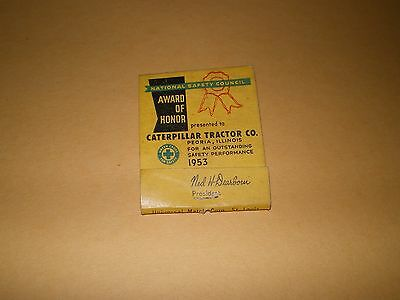 1953 Caterpillar Tractor Co. National Safety Council Award of Honor Matchcover