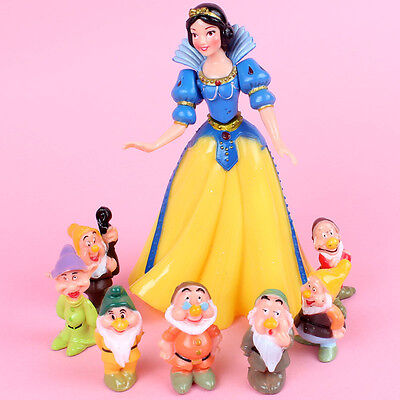 8pcs Snow White and the Seven Dwarfs Action Figures Cake Toppers Doll Kids Toy
