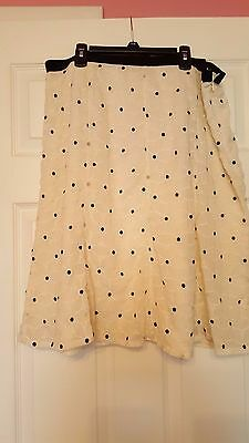 Ann Taylor Black and Ivory Flower A-Line Skirt Size 16