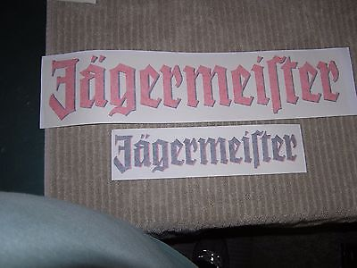 """2 JAGERMEISTER Stickers 1 @ 12"""" x 2 1/2"""" & 1 @  19"""" x 4"""" FREE SHIPPING"""