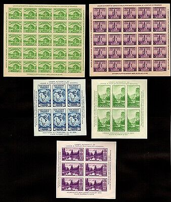 US Stamps: 730, 731, 735, 750, 751 Farley Souvenir Sheets Mint, NH