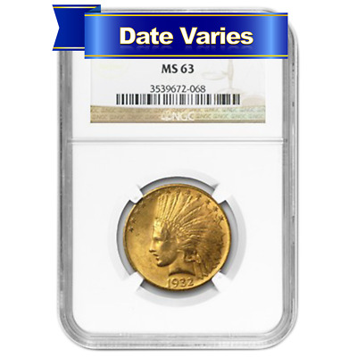 1907 to 1932 $10 Indian Head Gold Eagle NGC MS63 Random Year