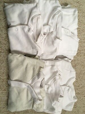 Baby Sleep Suits F&F, Mothercare & Tu White & Beige Strips X6 0-3 Months