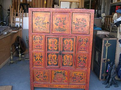 Tibetan Cabinet Armoire Handpainted Asian Vintage Great Condition Showstopper!!!
