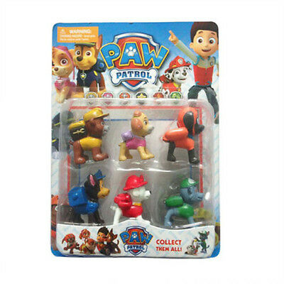 6pcs Paw Patrol Action Figures Dog Doll Cake Toppers Set Kids Baby Boy Girl Toy