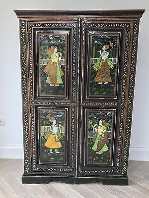 Beautiful painted, lacquered Indian cupboard, ornate depictions in Mughal style.