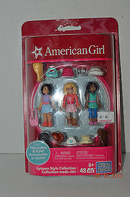 American Girl~Mega Bloks~Uptown Style Collection~3 Dolls~48 Pieces~Brand New~Ba
