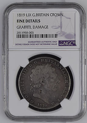 1819 LIX Great Britain Crown NGC Fine Details Rare British UK Silver Coin George
