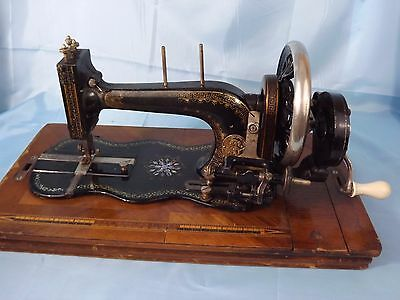 Antique FIDDLE BASE Hand Crank Sewing Machine 'Stoewer' ~ Working +Accessories