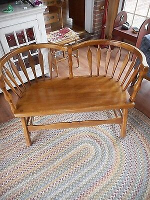 Vintage Sikes Co Buffalo Ny Maple Two Person Love Seat With Label