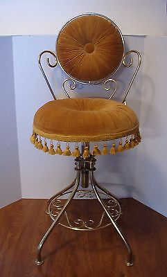 vintage vanity chair SWIVEL SEAT adjustable height gold tone metal and fabric