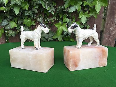 French Vintage Art Deco Cast Metal Fox Terriers Dogs on Marble Bases Book Ends