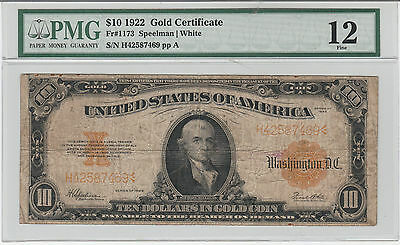 Circulated 1922 $10 Gold Certificate--Fr. 1173, Speelman/White, Ships Insured