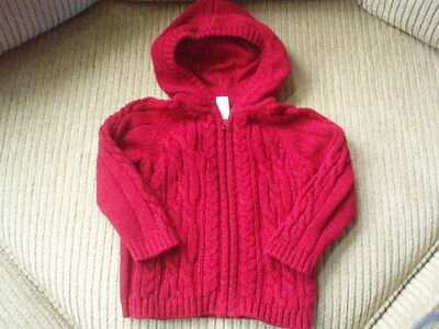 VGUC~BABY GAP  Red Hooded Zippered Cable Sweater ~ Size 18-24 M
