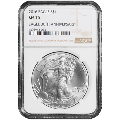 2016 $1 American Silver Eagle NGC MS70 Brown Label