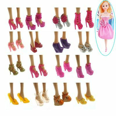 10 Pairs Random Gift Fashion Toy Sandal High-heeled Barbie Outfit Doll Shoes