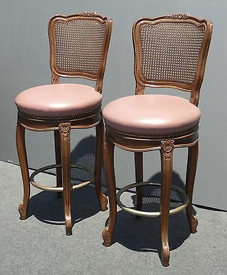Pair Vintage French Provincial Country Wood Mauve Leather Cane Back BARSTOOLS