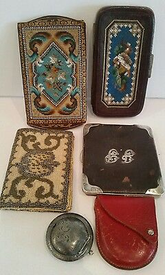 Antique Junk Drawer LOT Sterling WALLETS 12K Glasses Chatelaine Coin Compact NR!