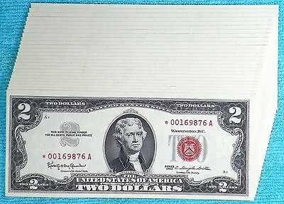 25 STAR Consecutive 1963 - Rare Fr#1513* $2 Two Dollar Bill Red Seal US Note