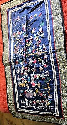 antique embroidered Chinese silk wall hanging