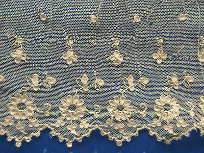 Antique Lot Of 3 Needle Run Embroidered Cotton Net Lace Panels