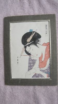 Framed Asian Painting Woman With Scroll Japanese Artwork