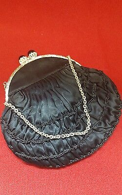 Vintage Coin Evening Purse Mayfair Of London Black Ruffle With Silver Chain