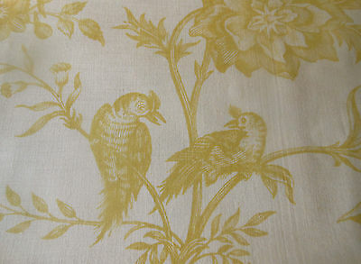 Antique Botanical Bird Floral Fruit Toile Cotton Fabric ~ Yellow Gold on Cream ~