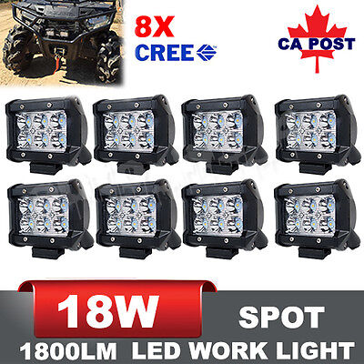 8x 4inch 18W CREE LED Spot Work Light Bar Offroad 4WD Fog ATV SUV Driving Lamp