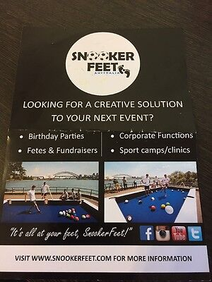 Snooker Feet Australia  $100.00 Voucher To Be Used On Full Day Hire