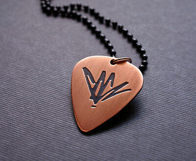 Handmade Etched Copper Chris Cornell Guitar Pick Necklace  Charity Donation Sale