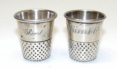 "2 Vintage Thimble Shot Glasses Sterling Silver ""Only a Thimble Full"" 50 grams"