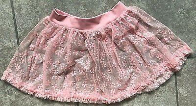 Girls Capezio Intermediate size pink with floral sparkles dance skirt