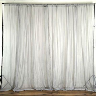 Silver 10 x 10 ft Voile BACKDROP CURTAINS Drapes Panels Home Party Decorations