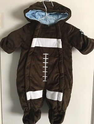 "NWT~~PISTACHIO~~Infant ""Brown Football"" Hooded  Pram/Snowsuit~~Size 3-6 months"