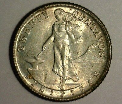 1944 D  Silver  Us-Philippines  Twenty Centavos  Au   Nice Looking Coin!!!