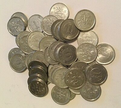 Lot Of 50  JAPANESE 1 YEN COINS  FIFTY  ¥1 ONE YEN COINS